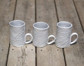 RESERVED for FIONA - Set of three ceramic mugs in pale blue gray.  Porcelain handbuilt mug with the impression of a vintage doily.