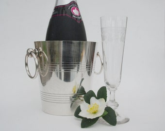 Silver champagne bucket, small french silver plated ice bucket, 1970's