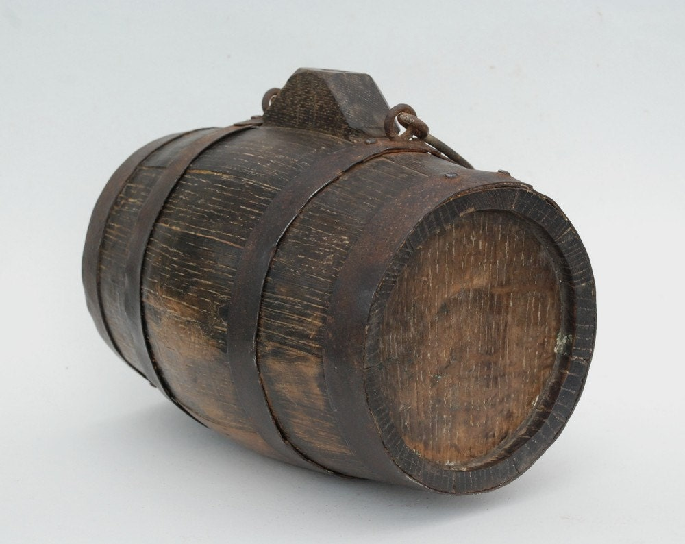 Wine Barrel French Antique Wooden Barrel 9 1 2