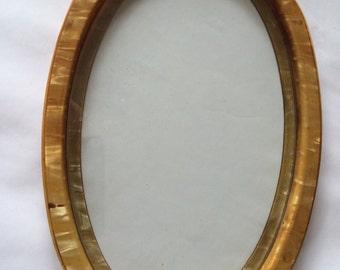 Vintage Bakelite Celluloid Oval Vanity Tray