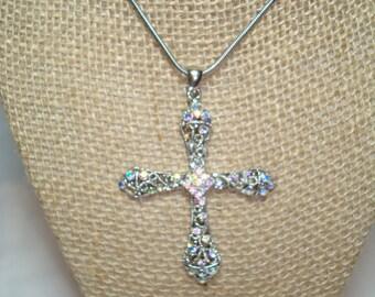 Vintage Premire Design Aurora Borealis Large Cross Necklace.