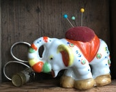 Vintage Pincushion Figural Lusterware Elephant