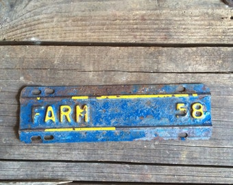 Rusty Vintage Metal Sign Farm Tag Blue & Yellow