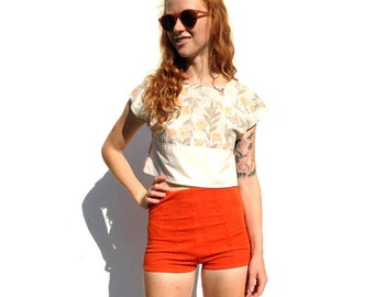 SALE!!!!!!!! Cream with orange retro  floral print cap sleeve crop top UPCYCLED