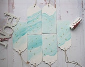 Christmas Gift Tags in Aqua, set of 6, gift tags, handmade, hand painted, OOAK