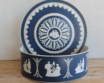 Vintage Blue & White Tin // Storage Tin // Vintage Storage