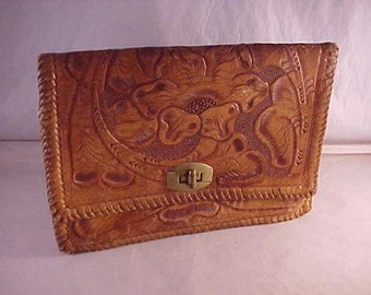 Tooled Leather Purse No Strap