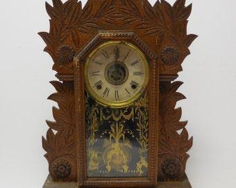 "Antique Clock Wm. L Gilbert ""Laurel"" pendulum wood tramp art Case Painted glass door shelf mantel"