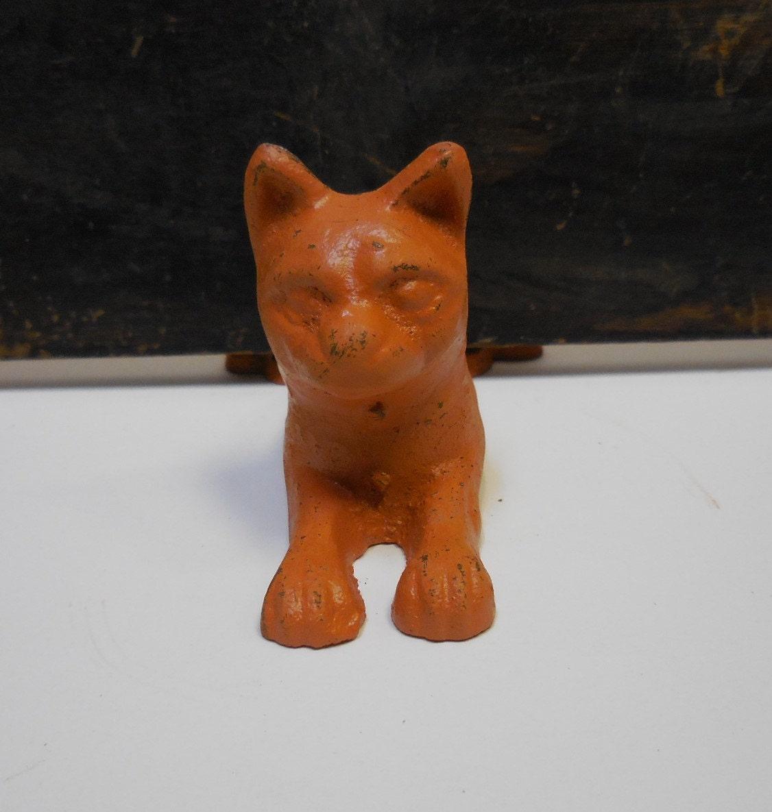 Cast iron cat doorstop door wedge orange tabby feline stopper - Cast iron cat doorstop ...