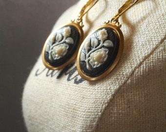 Lady Violet Earrings - Downton Abbey Jewelry - Edwardian Jewelry - Cameo Earrings - Elegant Earrings - Victorian Earrings -