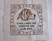 FREE SHIP! Vintage Embroidered Dog Cross Stitch Sampler, Needles N Hoops