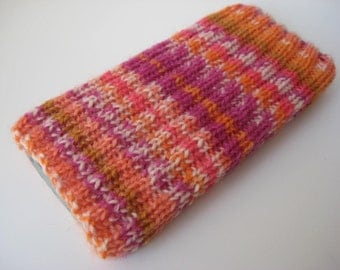 iPhone 5 sock - iPhone 5/SE wool cosy - mobile phone sock - gift for girls - orange pink case - hand knitted phone sock - one of a kind sock