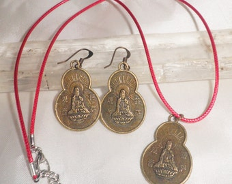 KUAN YIN- Charm Necklace Pendant Or Choose Earrings Or BOTH-She is the Bodhisattva of Compassion-Yoga Jewelry - Buddhist Jewelry