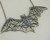 Statement Necklace - Bat Necklace - Sapphire Necklace - Upcycle Necklace - Rhinestone Necklace - Handmade Necklace