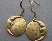 Moon Earrings - Moon Jewelry - Moon Face - Celestial Jewelry - Moon and Stars - Man in the Moon - Celestial Earrings - Star Earrings