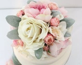 Wedding Cake Topper - Rose Quartz Pink Peony, Ivory, Pink Rose Silk Flower Cake Topper, Silk Wedding Cake Flowers, Flower Cake Topper