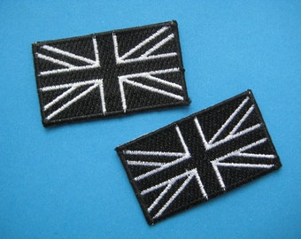 SALE~ 2 pcs Iron-on Embroidered Patch United Kingdom Flag 2.25 inch