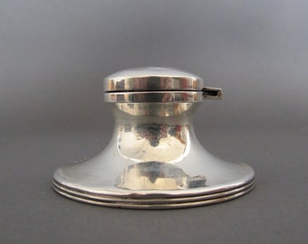 Solid Silver Capstan Inkwell from England - Antique Inkwell - Hallmarked 1911