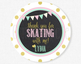 Ice Skating Favor Tags, Pink and Gold Tags, Girl Birthday Favors, Winter Birthday Tag, Gold Glitter, Personalized