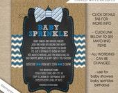 Rustic Bow Tie Baby Sprinkle invitations, blue grey white burlap invites, boy baby sprinkle invites, boy baby shower invitations