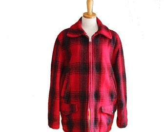 50% half off sale // Vintage 60s LUMBERJACK Jacket - Men S M - Red Black Plaid - JCPenney Hunting Apparel
