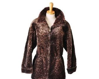 30% off sale // Vintage 80s Faux Fur LEOPARD Print Dark Brown Coat Lorovi - Women Small - 80s, plush, glam, Halloween