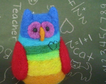 Needle felted owl rainbow stripe hand made wool toy collectible Hoot