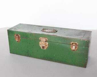 Grungy Vintage Green Metal Tool Box