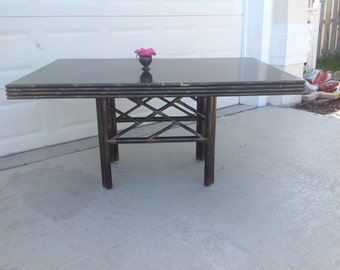 """FAUX BAMBOO Dining Table / Chippendale Style Base with 60"""" Top / Rattan Faux  Bamboo Table/ Chippendale style On Sale at Retro Daisy Girl"""