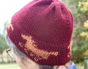 Knitted Horse Hat Beanie,  Running Horses, Made in Vermont,  Deep Burgundy Red