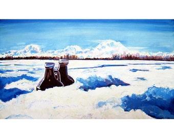 Alaska Beer Art, Denali Painting, Alaska Mountains & Beer Painting, Living Room Print, Gift for Beer Drinker, Gift for Home Brewer, Bar Art