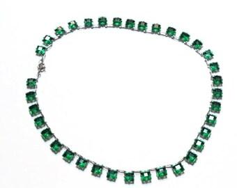 Art Deco Czech Glass Emerald Necklace Silver Choker