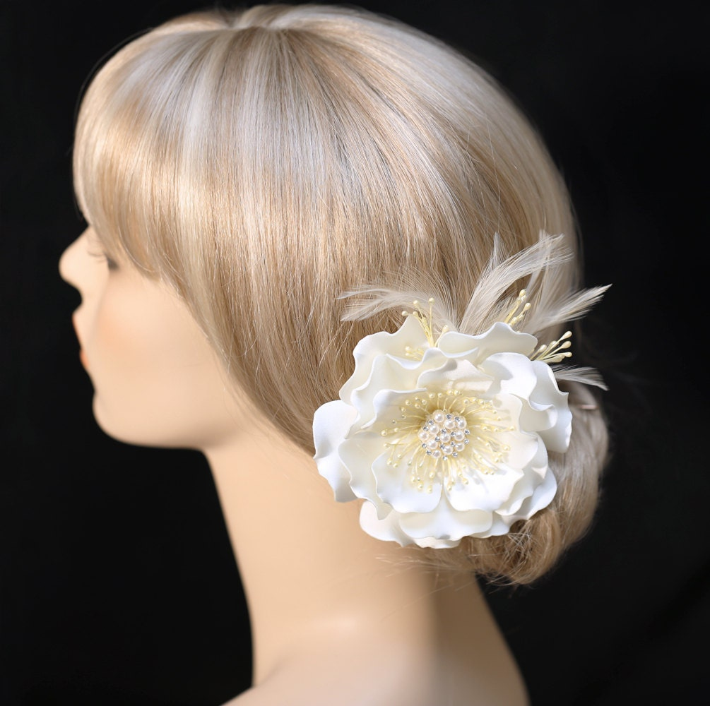 Ivory Flower Hair Clip Wedding: Wedding Hair Clip Ivory Color Satin Flower Hair Clip Wedding