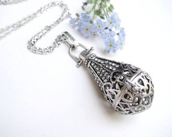 Silver Crystal Drop Aromatherapy Necklace