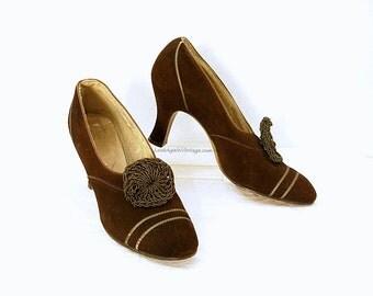 Vintage 1930s High Heels Brown Suede Rosette Need Repair Pumps Shoes / U.S. 5.5 – 6N