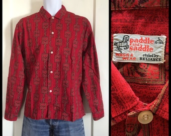 Vintage 1950s Paddle and Saddle Owl face wing patterned Shirt size Large Dark Red