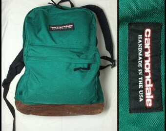Cannondale handmade in USA leather bottom Backpack Rucksack Green Nylon 1990s vintage Hiking Camping
