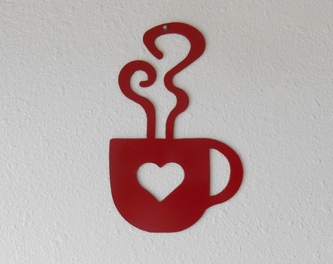Red Heart Coffee Cup Wall Art  Metal Wall Decoration