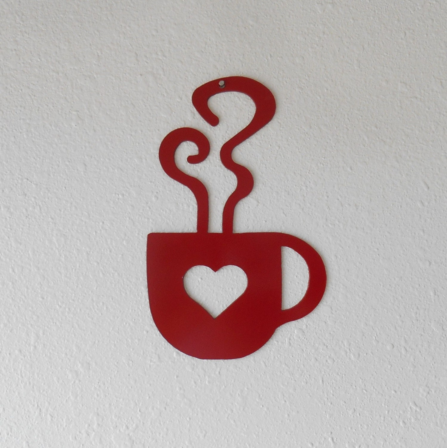 Coffee Metal Wall Art red heart coffee cup wall art metal wall decoration