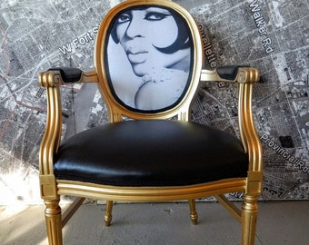 Arm chair Diana Ross vintage Louis gold wood vinyl and celebrity image