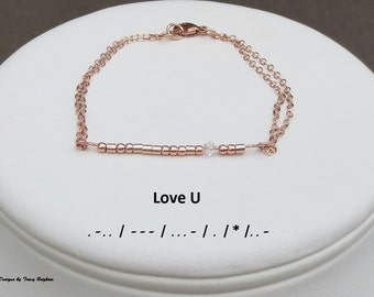 Morse Code Message Love U Bracelet 14KT Rose Gold filled Mother's Day Best Friend Bridesmaid Girlfriend Wife Mother Sister Gift Idea