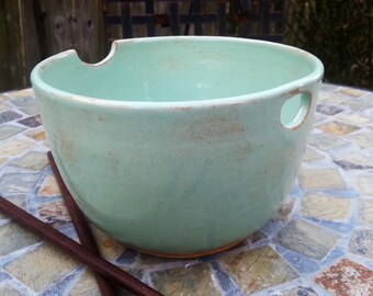 Ceramic Noodle Bowl in Pistachio Green with Chopsticks