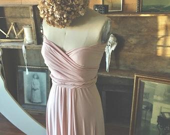 Sahara Rose Gold Silky Satin Maxi Infinity Wrap Gown- Pale Dogwood - Bridesmaids, Wedding, Maternity, Plus Size