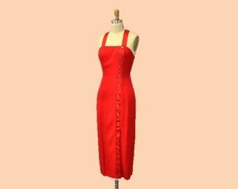 Red Cocktail dress christmas party  Joseph Ribkoff evening gown 1980s vintage form fitting rhinestone buttons strapless X back IngridIceland