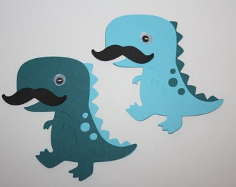 Set of 6 - T-rex Dinosaur with Moustache Party Decor and Scrapbooking Embellishments