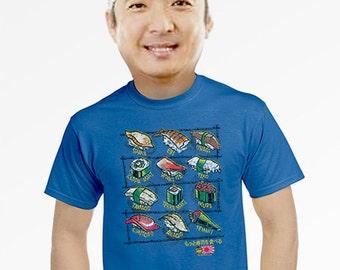sushi shirt japan t-shirt funny sushi foodie gift artsy unique tees for men blue tshirt japanese sushi art small medium large xl 2xl 3xl 4xl
