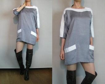 80s Woven TUNIC Dress Vintage Woven Mini Dress Colour Block Dress Mini Tunic Dress Gray Tunic Dress Gray + White Dress