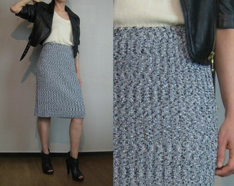 80s SALT + PEPPER FLECKED Knit Vintage Black White Speckled Ribbed Knitted Tube Pencil Mini Midi Sweater Skirt xs/s Small s/m 1980s