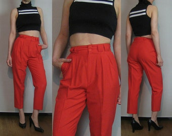 80s CROPPED COTTON TAPERED Vintage Cherry Red Pleated Skinny Tapered Leg High Waist Spring Summer Capri Trousers Pants xxs/xs Small 1980s
