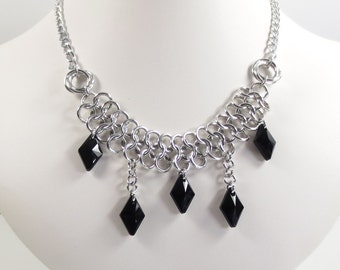 Swarovski Crystal Chain Mail Necklace, European 4 in 1 and Love Knot Necklace, Jet Black Rhombus Pendant Necklace, Chainmaille Jewelry